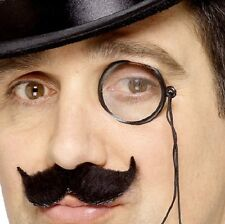 20s 1920s Fancy Dress Monocle with Lense & Cord Black New by Smiffys
