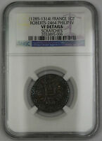 1285-1314 France Gros Tournois Coin Roberts-2464 Philip IV NGC VF Details AKR