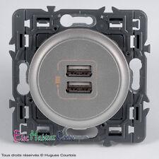 Double prise chargeur USB céliane Legrand titane 67462+68556+80251