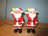 vintage large santa ringing bell christmas salt pepper shakers