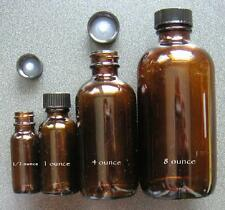 12 - 1/2 ounce oz (4 dram, 15 ml) amber glass Boston Round bottles New