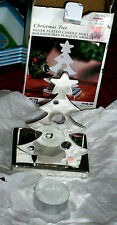 """Silver Plated Christmas Tree Tealight Candle (included) Holder--NIB--5"""" tall"""