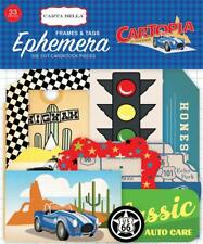 Carta Bella CARTOPIA 33pc Frames & Tags EPHEMERA Die Cut Pieces Car Trip 69021