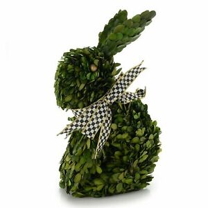 Mackenzie Childs RABBIT TOPIARY Boxwood Bunny w/Courtly Check Bow NEW m20-jl