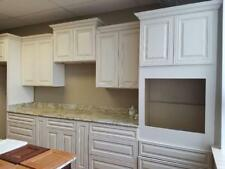 Solid Wood RTA Kitchen Cabinets Charleston Antique White Group Sale 8' long