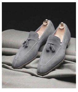Handmade men light gray dress shoes, dress moccasin shoe men, suede leather shoe