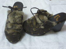 leather upper report platform wood clogs with faux fur shoes man made size 7