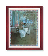 French Cafe Terrace Ocean Lake Landscape Wall Picture Cherry Framed Art Print