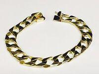 """18kt solid gold handmade Curb Link mens bracelet 9"""" 38 Grams 11MM"""