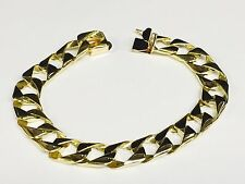 """18kt solid gold handmade Curb Link mens bracelet 8"""" 33 Grams 11MM"""