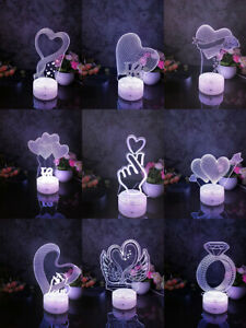 3DLamp LED 7Color Touch Night Light Moonlight Touch Sensor Valentines Gift Decor