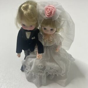 "Vintage Bradley Dolls Bride Groom 9"" Dolls Set Big Eyed Dolls 1980s Korea NWT"