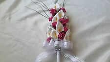 PINK & WHITE ARTIFICIAL FLOWERS FOR BRIDE / BRIDESMAIDS WEDDING BOUQUET