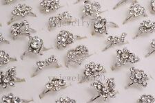 Wholesale Lots 10pcs Woman Crystal CZ Rhinestone Silver Tone Rings Jewelry