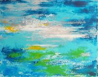 """Art contemporain Tableau abstrait Paysage Peinture signée HZEN """"SEPTEMBRE"""" 50x40"""