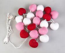Lichterkette Rot Pink Weiß mit 20 Baumwolle Kugeln in Herzform Deko Cotton Ball
