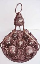 Dark Copper Turkish Coffee Set: Mugs,Delight Bowl,Tray Hanger Crescent Star