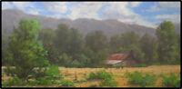 Jeff Love Original Oil Painting Barn Farm Western Ranch Cows Landscape Signed
