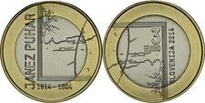 "3 Euro Bimetallmünze Slowenien 2014 ""Janez Puhar"""
