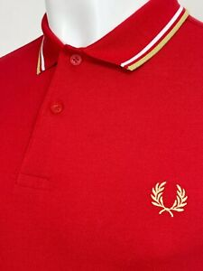 Fred Perry   Twin Tipped M3600 Pique Polo Shirt L XL (Red) BNWT Scooter 60s Ska