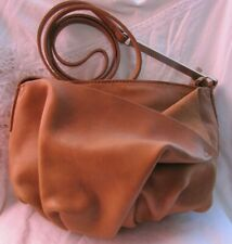 417832a203  RARE HALSTON TAN LEATHER AVANTE GARDE GATHERED SHOULDER purse bag EUC