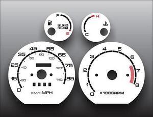 1989-1991 Geo Metro Tach Dash Instrument Cluster White Face Gauges