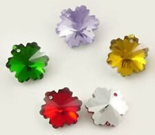 10 Crystal Snowflake Charms Glass Faceted Mixed Pendant Charm Silver Plated back