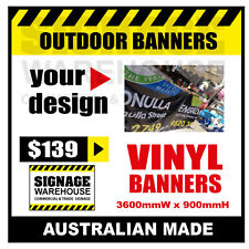 Custom Outdoor Vinyl Banner Sign  - 3600mmW x 900mmH Signage Warehouse