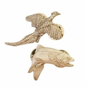 Vintage GG Harris Pewter Trout Fish and Grouse Bird Hunting Brooch Pins Set of 2