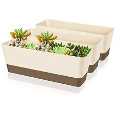 Creproly Plastic Rectangular Planter Window Box, 11.2 Inch Small Succulent Pot