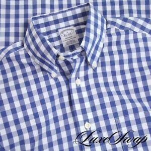 NWT #1 MENSWEAR Brooks Brothers White Royal Blue Maxi Gingham Check Shirt S NR