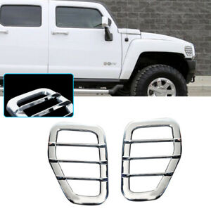 2pcs Chrome Silver Trim Covers For 06-10 Hummer H3, H3T Front Side Marker Light