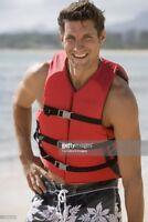 Life Jacket Vest Red Universal Adult Safety Swimming Ski Boating Kayak Preserver
