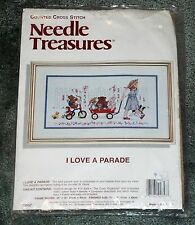 NEEDLE TREASURES I Love A Parade Girl with Bears in Wagon Open Package