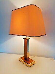 Lampe vintage décor bois et métal doré style Willy Rizzo