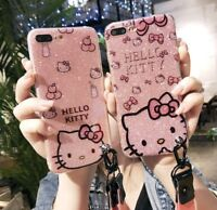 Bling Fr Apple iPhone 11 Pro Xs Max Glitter Hello Kitty Case Sparkle Cover Strap
