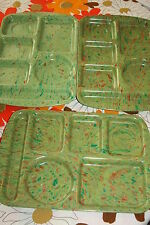 "3 Vintage 15"" Prolon Ware Lunch Cafeteria Trays Green Orange Speckled Confetti"