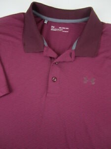 Mens 2XL Under Armour Playoff Polo Heatgear purple maroon stripe golf polo shirt
