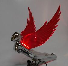Flying Goddess Hood Ornament - Chrome w/ Red Lighted Wings