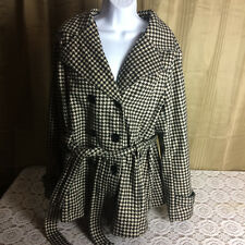 womens plus size 1x 2x JOUJOU button front blck & white checked coat NBIN