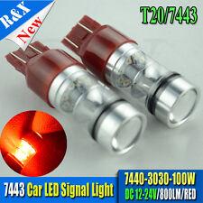 Pair 100W RED 7443 T20 3030 LED Auto Car Light Tail Brake Stop Lamp Bulb 12-24V