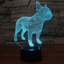 Night Light 7 Colors Hologram Decor Table Lamp French Bulldog Xmas Gift 3D LED