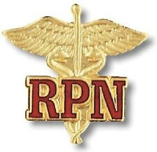 Rpn Caduceus Lapel Pin Nurse Emblem Red Letters Gold Plated w/Safety Catch New