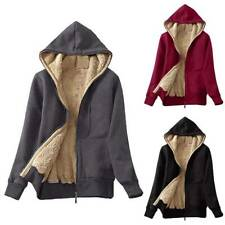 Women Hoodie Fleece Fluffy Zip Jacket Coat Winter Warm Solid Outwear S M L XL