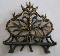 Solid Brass Table Top Easel Ornate Wheat Design