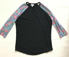 Lularoe Randy Raglan Baseball Sleeve T-shirt Top size M Black floral printed