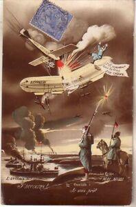 Zeppelin crash used artist drawn postcard