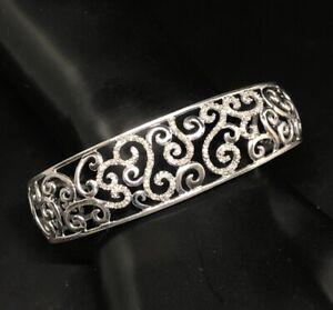 "Vintage Diamond Sterling Silver Bracelet 925 Cuff 7"" Scroll"