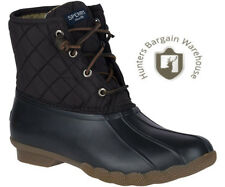Sperry Sts94063 Saltwater Quilted Nylon Black Women's Duck BOOTS 8 US