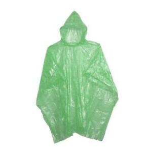 Erwachsene Regen Poncho Grün Wasserfest Plastik Einweg Hut Kapuze Damen Herren